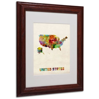 Michael Tompsett 'US Watercolor Map' White Matte, Wood Framed Wall Art