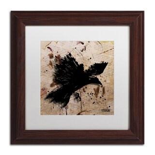 Roderick Stevens 'The Raven 1' White Matte, Wood Framed Wall Art