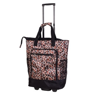 American Flyer Brown Giraffe Super Shopper Rolling Shopper Tote
