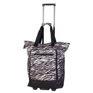 American Flyer Black Zebra Super Shopper Rolling Shopper Tote