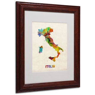 Michael Tompsett 'Italy Watercolor Map' White Matte, Wood Framed Wall Art