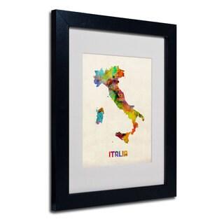 Michael Tompsett 'Italy Watercolor Map' White Matte, Black Framed Wall Art