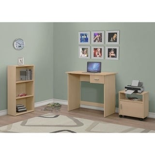 3-piece Maple Computer Desk with Bookcase and Cart