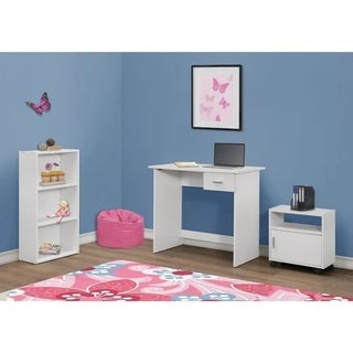 3-piece White Computer Desk with Bookcase and Cart