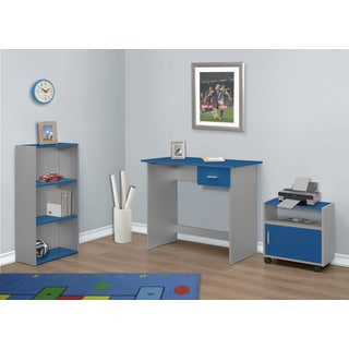 3-piece Blue/ Silver Computer Desk with Bookcase and Cart