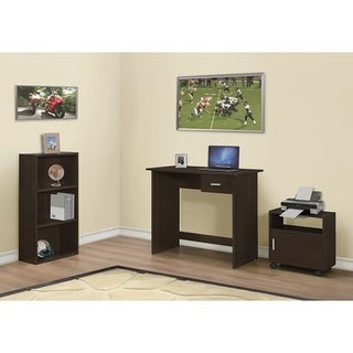 3-piece Cappuccino Computer Desk with Bookcase and Cart