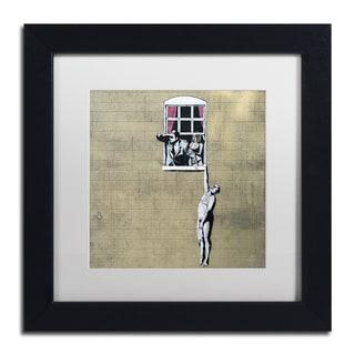 Banksy 'Scandal' White Matte, Black Framed Wall Art