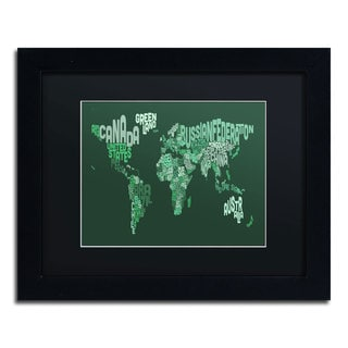 Michael Tompsett 'Text Map of the World' Black Matte, Black Framed Wall Art