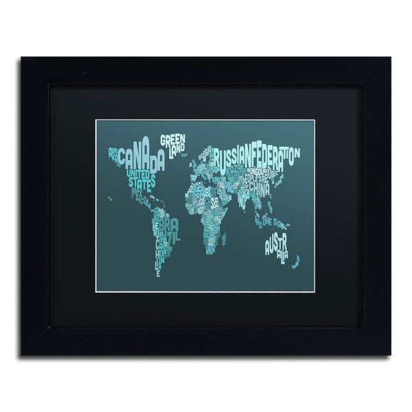 Michael Tompsett 'Text Map of the World II' Black Matte, Black Framed Wall Art