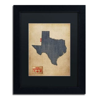 Michael Tompsett 'Texas Map Denim Jeans Style' Black Matte, Black Framed Wall Art