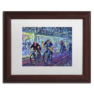 Lowell S.V. Devin 'Century Ride' White Matte, Wood Framed Wall Art