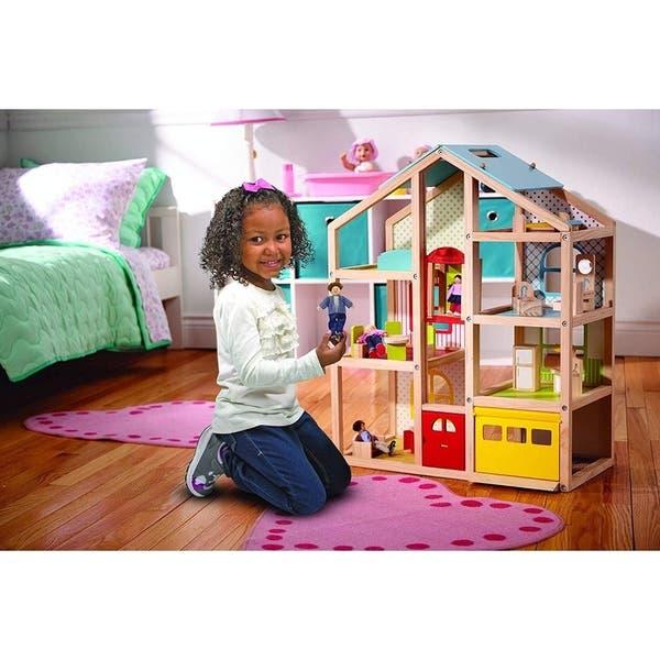 Shop Melissa Doug Wooden Hi Rise Dollhouse Free Shipping