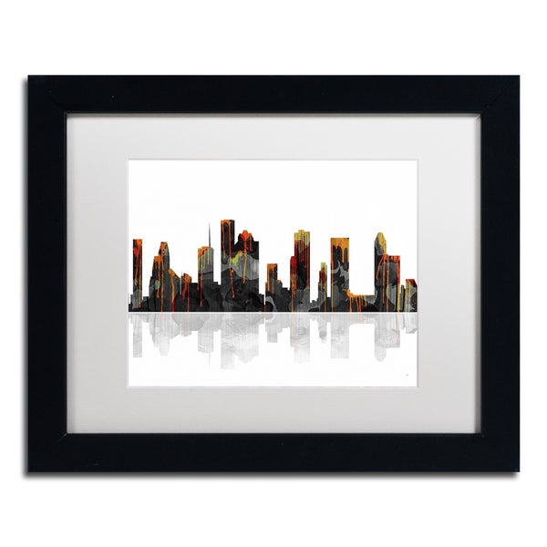 Marlene Watson 'Houston Texas Skyline' White Matte, Black Framed Wall Art