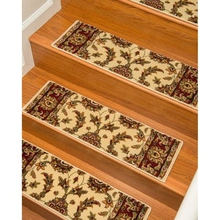 "Handcrafted Sydney Carpet Cream Stair Treads (9"" x 29"") (Set of 13)"