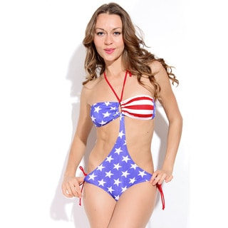 Women's Stars/ Stripes Ruched Bandeau Top and Gold O-ring Hardware