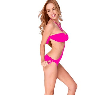 Women's Pink Ruched Bandeau Top and Gold O-ring Hardware