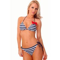Women's Blue Stripe Red Bow Triangle Top Two Piece