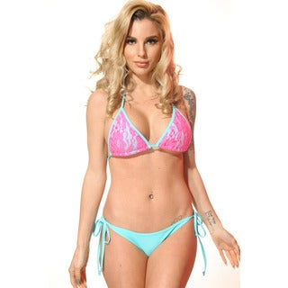 Women's Hot Pink/ Blue Triangle Lace Overlay Top
