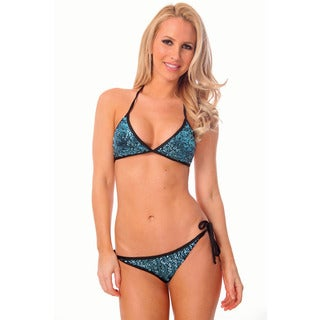 Women's Blue Sequin Triangle Top with Scrunch Bottom