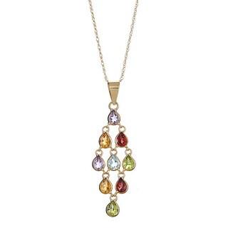 14k Yellow Gold Multi Semi-precious Dangle Necklace