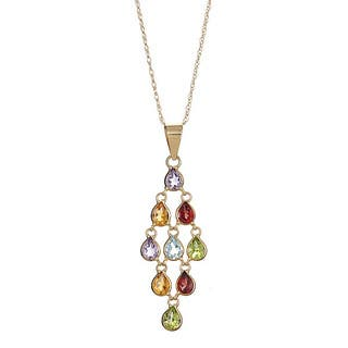 14k Yellow Gold Multi Semi-precious Dangle Necklace|https://ak1.ostkcdn.com/images/products/10477456/P17566721.jpg?impolicy=medium