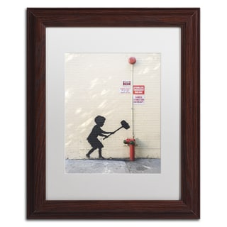 Banksy 'Better Out Than In' White Matte, Wood Framed Wall Art