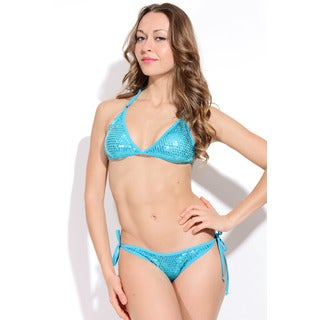 Women's Turquoise Sequin Triangle Top with Scrunch Bottom
