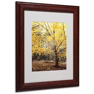 Philippe Sainte-Laudy 'Yellow Fall' White Matte, Wood Framed Wall Art