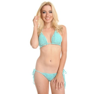 Women's Handmade Blue Crochet Bikini with Rayon Lining