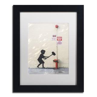 Banksy 'Better Out Than In' White Matte, Black Framed Wall Art