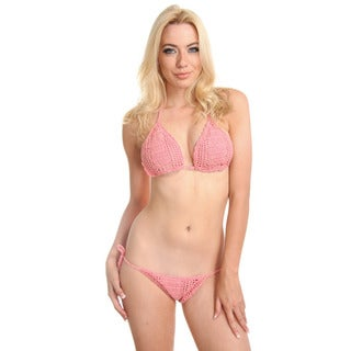 Women's Handmade Pink Crochet Bikini with Rayon Lining