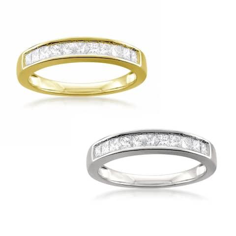 Montebello 14k Gold 1/2ct TDW Certified Princess-cut White Diamond Wedding Ring