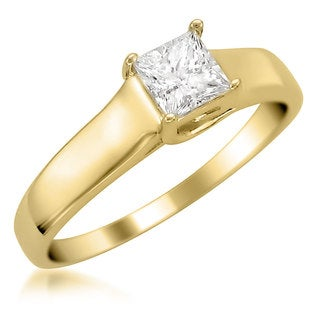 Montebello 14k Yellow Gold 1/4ct TDW Princess-cut Diamond Solitaire Ring