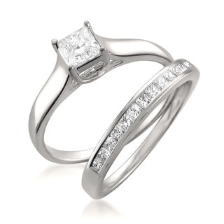 Montebello 14k White Gold 7/8ct TDW Princess-cut Diamond 2-piece Bridal Set
