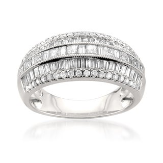 Montebello 14k White Gold 1 1/2ct TDW Multi-Row Pave Diamond Ring (H-I, I1)