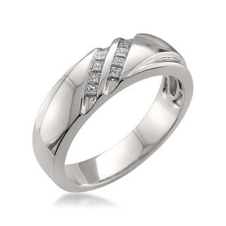 Montebello Platinum Men's 1/4ct TDW Diamond Wedding Band (3 options available)