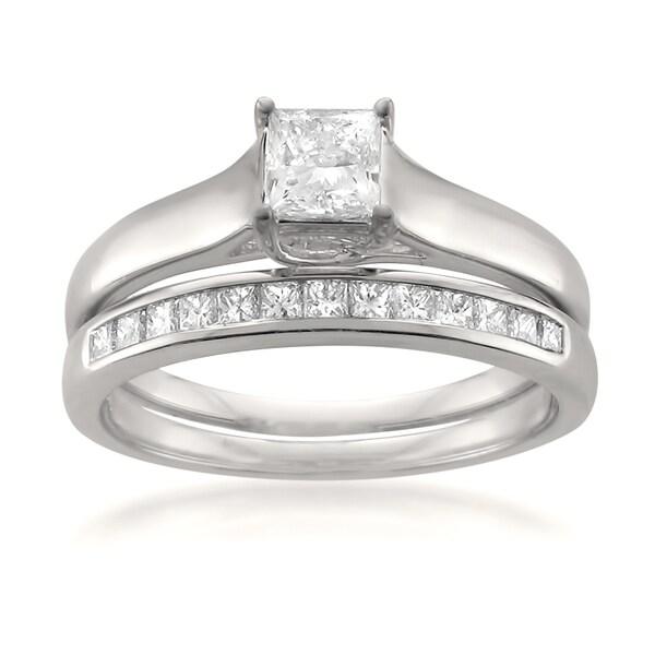Montebello 14k White Gold 3/4ct TDW Princess-cut White Diamond 2-piece Bridal Set