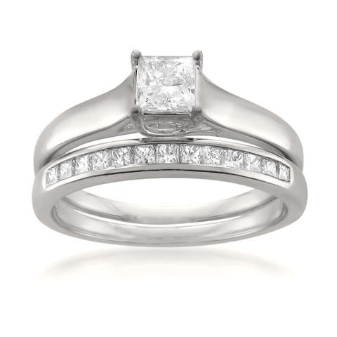 Montebello 14KT White Gold 3/4ct TDW Diamond 2-piece Bridal Set