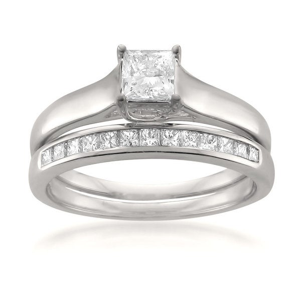 Montebello 14k White Gold 3/4ct TDW Princess-cut White Diamond 2-piece Bridal Set