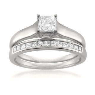 Montebello 14k White Gold 3/4ct TDW Princess-cut White Diamond 2-piece Bridal Set (G-H, VS1-VS2)