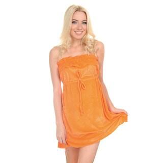 Women's Orange Strapless One-piece Towel Fabric Coverup