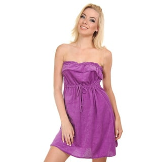 Women's Purple Strapless One-piece Towel Fabric Coverup