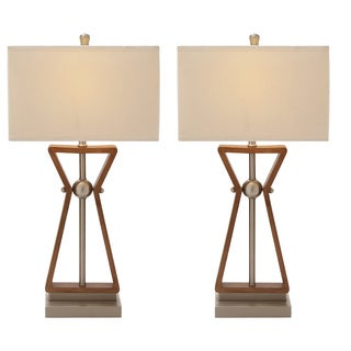 Casa Cortes Linear Design 2-outlet Wood and Steel Table Lamps (Set of 2)