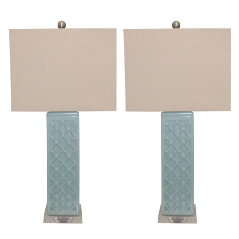 Rectangular Blue Trellis Ceramic Table Lamps (Set of 2)