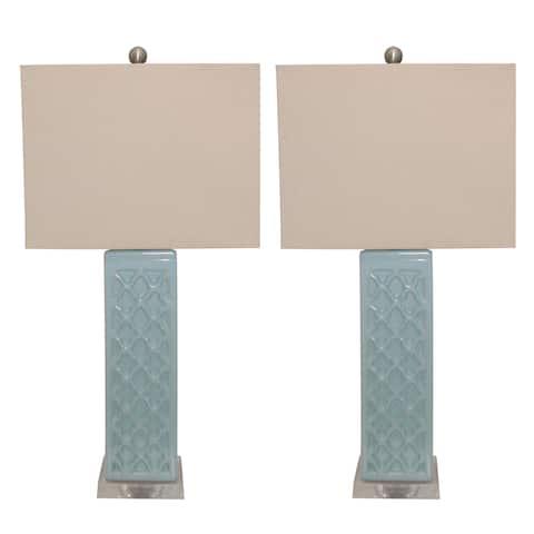 Rectangular Blue Trellis Ceramic Table Lamps (Set of 2)