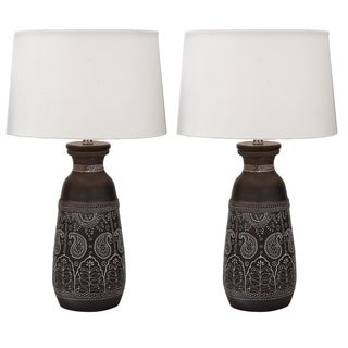 Mumbai Artisan Hand-crafted Unglazed Ceramic Table Lamps (Set of 2)