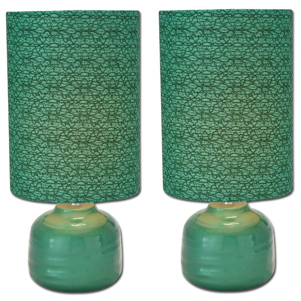 Shop Emerald Green Ceramic Table Lamps Set Of 2 Free Shipping
