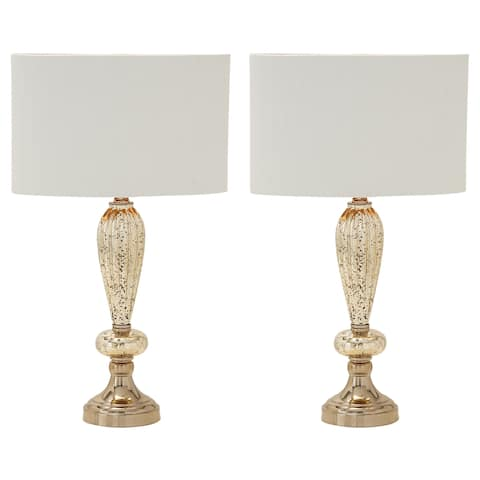 Carmel Collection Oval Glass Table Lamps (Set of 2) - Bronze