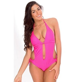 Women's Pink Cutout Monokini with Removable Soft Cups