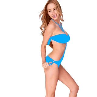 Women's Blue Ruched Bandeau Top and Gold O-ring Hardware